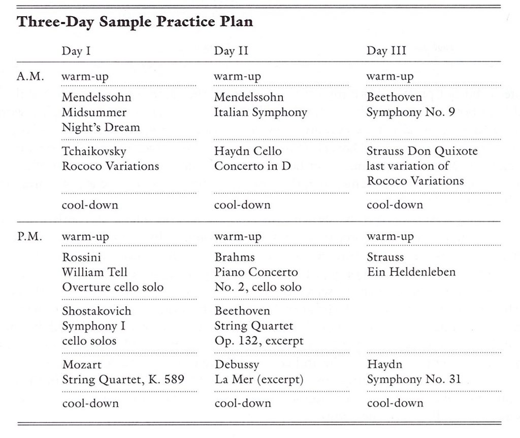 Three-day sample practice plan